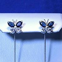Сережки-продівки зі срібла з фіанітом Метелик 5244-ц сін