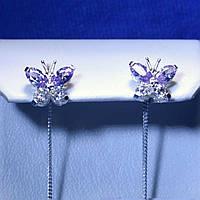 Срібні сережки-ланцюжки Метелики 5244-ц сирен