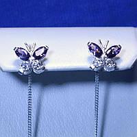 Сережки-протяжки из серебра Бабочки 5244-ц фиол, фото 1