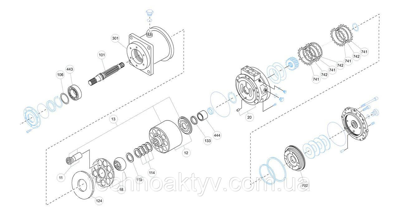 Гидромотор Kawasaki MX - MX130D0-11A-51 и его запчасти