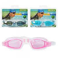 Очки для плавания 55682, защита от УФ-лучей, регул ремешок, от 8 лет, 3цвета, в слюде, 19, 5-16-4см