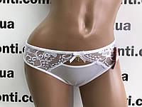 Кружевные белые женские трусы слипы, фото 1