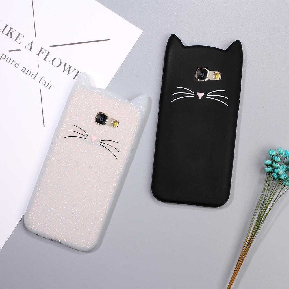Силиконовый чехол 3D cat для Samsung Galaxy A3 A310 2016