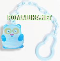 Цепочка (держатель) для пустышки (соски)  с клипсой Винни-Пух, ТМ little Timmy, Голубой