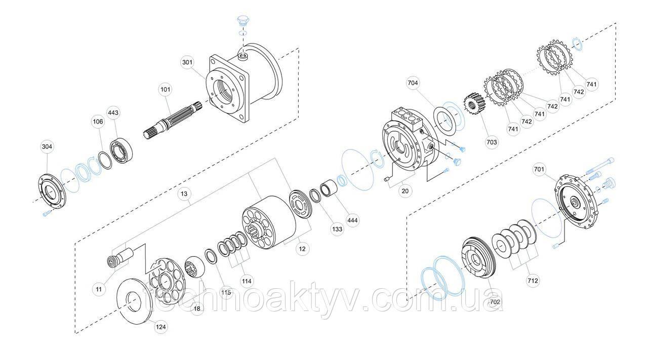 Гидромотор Kawasaki MX - MX150A0-20N-51M и его комплектующие