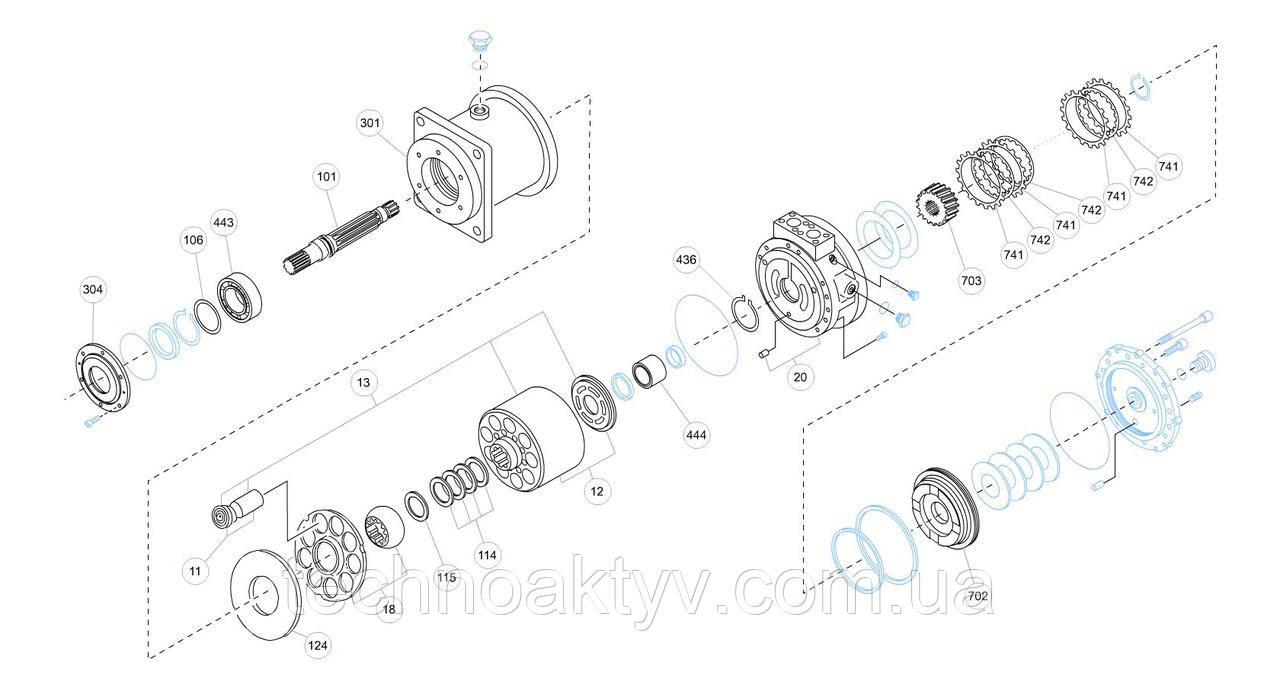 Гидромотор Kawasaki MX - MX184D0-11A-51 и его комплектующие