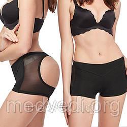 Черное нижнее белье для коррекции фигуры, трусы шорты  пуш ап, для увеличения ягодиц, размер XL
