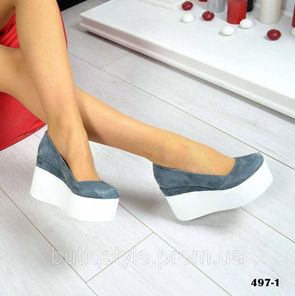 36, 38, 39, 40 размер!Женские замшевые серые туфли на белой танкетке натур замш