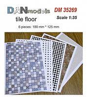 Материал для диорам из бумаги: кафельные полы, 6 шт, 180x125 мм