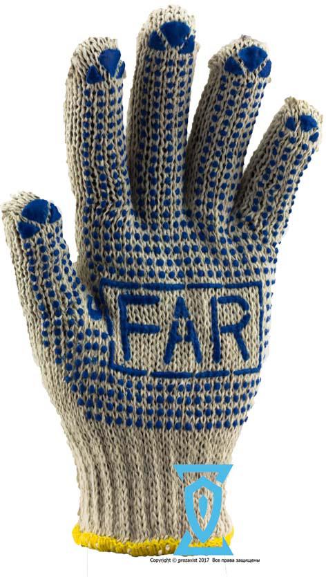 Рукавички робочі х/б біла з пвх покриттям ФАР FAR