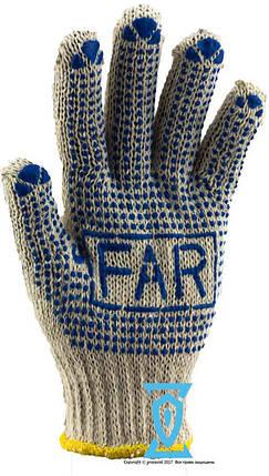 Рукавички робочі х/б біла з пвх покриттям ФАР FAR, фото 2