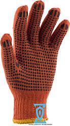Перчатки рабочие х/б оранжевая с пвх покрытием (Китай)
