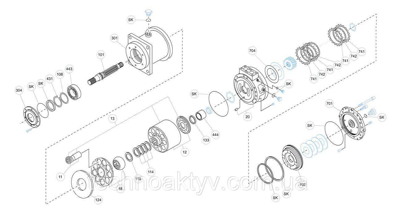 Гидромотор Kawasaki MX - MX250A0-20N-55M-RG06S64A3-KDC30MR и его комплектующие