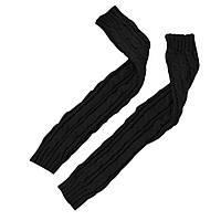 Длинные черные митенки (перчатки без пальцев) 55 см