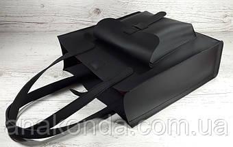 161-1 Сумка женская натуральная кожа, черный матовый, красная подкладка формат А 4 +, фото 2