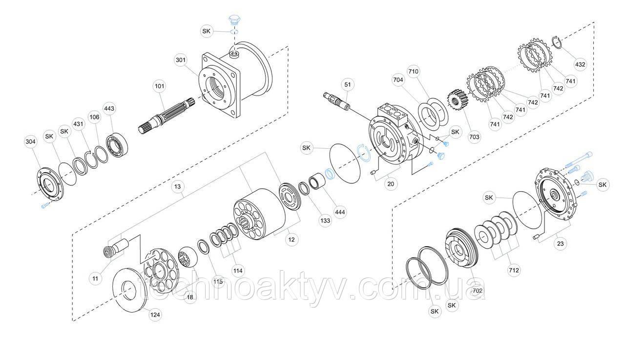 Гидромотор Kawasaki MX - MX500A0-20N-04-RG60W28B2-KDC30 и его комплектующие