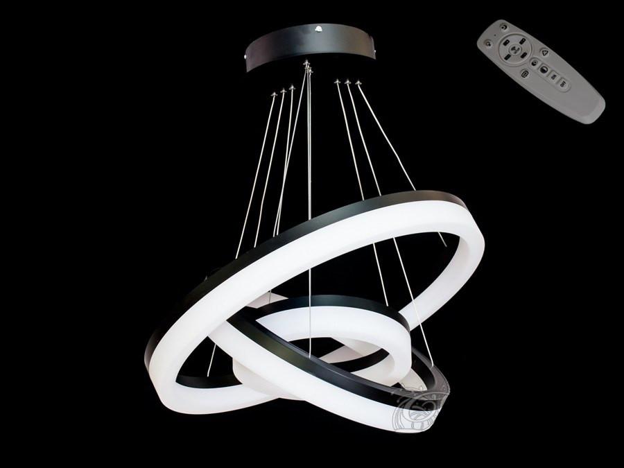Люстра светодиодная 8123-600+450+300 Black 70w dimmer