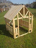 Домик из дерева со счетами для детской площадки