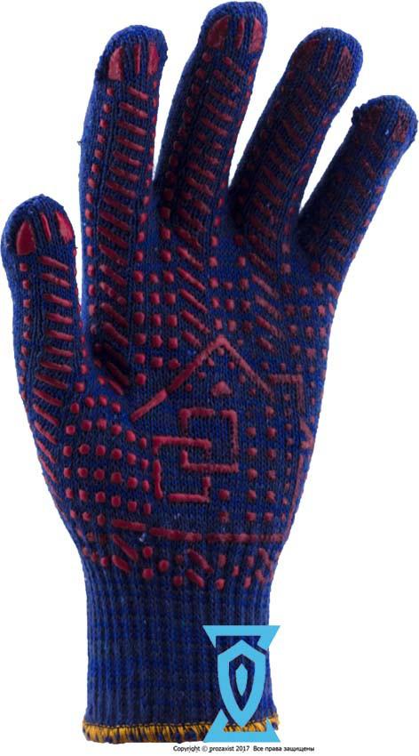 Рукавички робочі х/б синя з пвх покриттям Рубежтекс 117 (Україна)