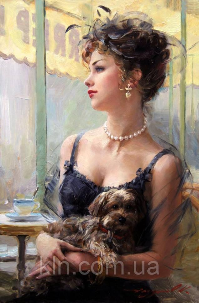 Набор алмазной вышивки Дама с собачкой 40 х 50 см (арт. FR735)