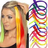 Цветные пряди искусственных волос на заколке