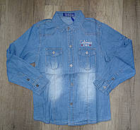 Джинсовая рубашка на мальчика оптом, S&D, 4-12 лет,  № KK-549, фото 1