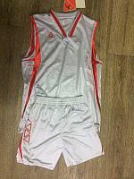 Форма баскетбольная LIGA SPORT односторонняя серая с красными вставками