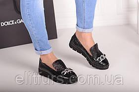 Слипоны женские кожаные, черный