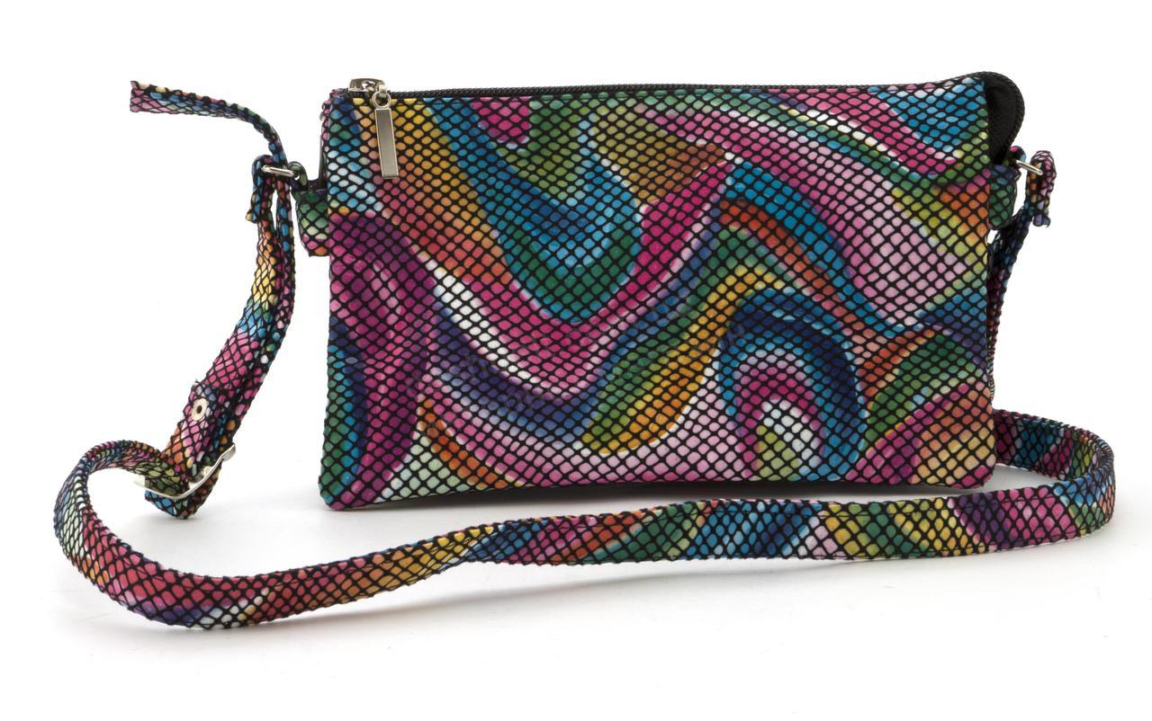 Небольшая вместительная женская сумочка почтальонка art. 54-3 (102686) разноцветная Украина