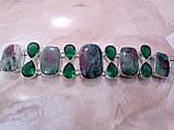 Великолепный браслет с камнем рубин в цоизите изумрудный кварцем в серебре Индия, фото 3
