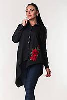 Женская блуза асимметрия с красным цветком вышивкой Zanna Brend 694 черный, фото 1