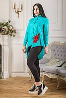 Женская блуза асимметрия с красным цветком вышивкой Zanna Brend 694 бирюзовый, фото 1