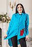 Женская блуза асимметрия с красным цветком вышивкой Zanna Brend 694 голубой