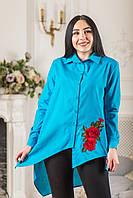 Женская блуза асимметрия с красным цветком вышивкой Zanna Brend 694 голубой, фото 1