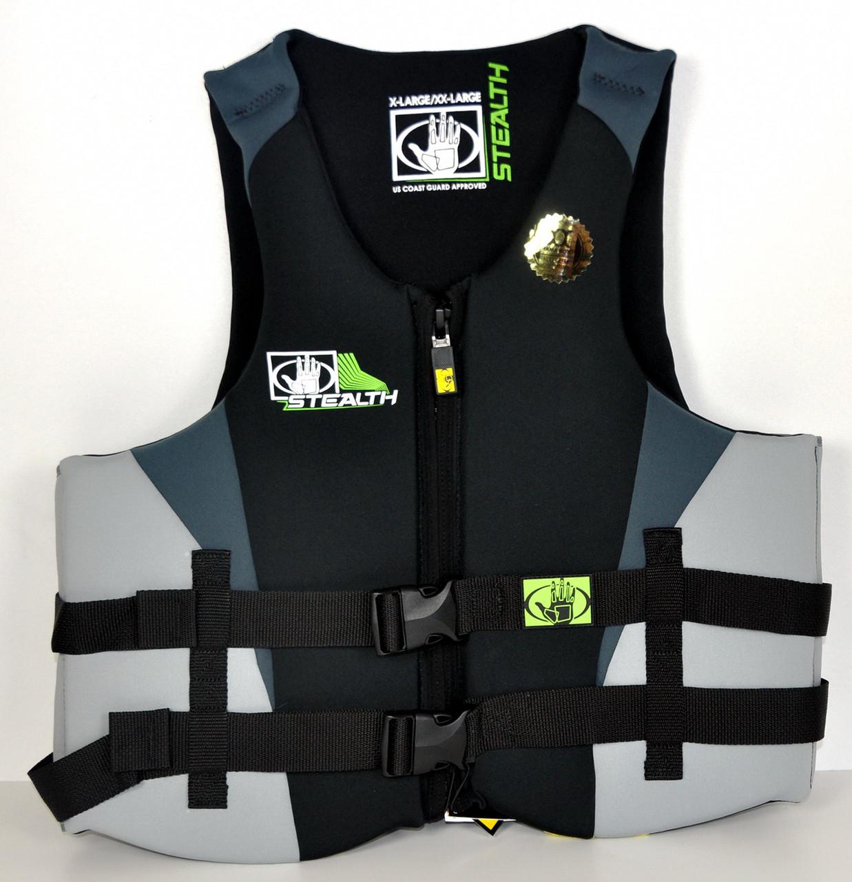 Спасательный жилет водный BodyGlove неопрен XL/2XL Stealth черно-серый для лодки, катера, яхты