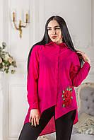Женская блуза асимметрия с красным цветком вышивкой Zanna Brend 694 малиновый
