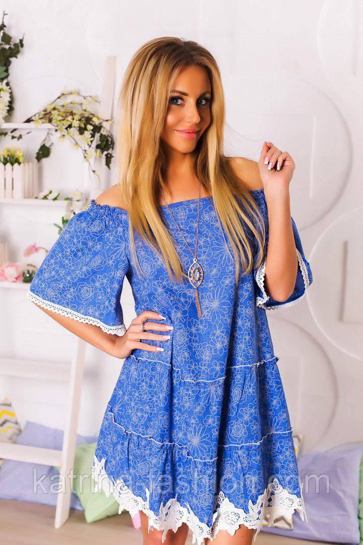 Женское красивое льняное платье с кружевом (3 цвета)