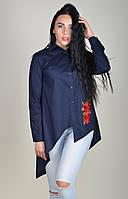 Женская блуза асимметрия с красным цветком вышивкой Zanna Brend 694 синий, фото 1
