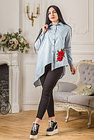 Женская блуза асимметрия с красным цветком вышивкой Zanna Brend 694 серый
