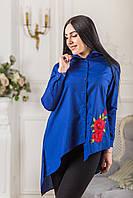 Женская блуза асимметрия с красным цветком вышивкой Zanna Brend 694 электрик, фото 1