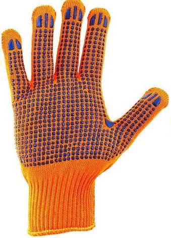 Перчатки рабочие синтетика оранжевая с пвх покрытием (Польша), фото 2