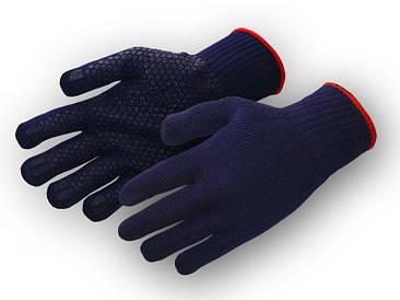 Перчатки рабочие синтетика синяя с пвх покрытием (китай)