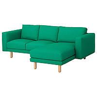 IKEA NORSBORG 3-местный диван, с шезлонгом Edum, Edum birch светло-зеленый / береза  (492.400.13)
