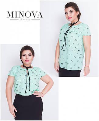 Стильная принтованная блузка размера 52-58