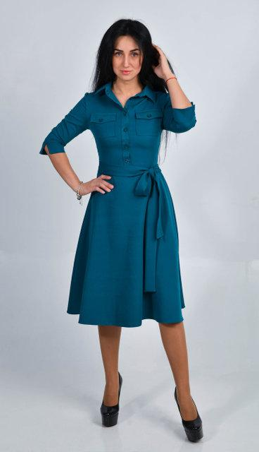 Элегантное платье миди из костюмного крепа.  Размер 44