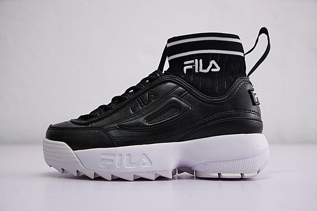e7a7b4763be4f6 Кроссовки Fila Disruptor II EVO Sockfit фила мужские женские  FS1HTA1501X_BBK38 реплика - Интернет-магазин кроссовок