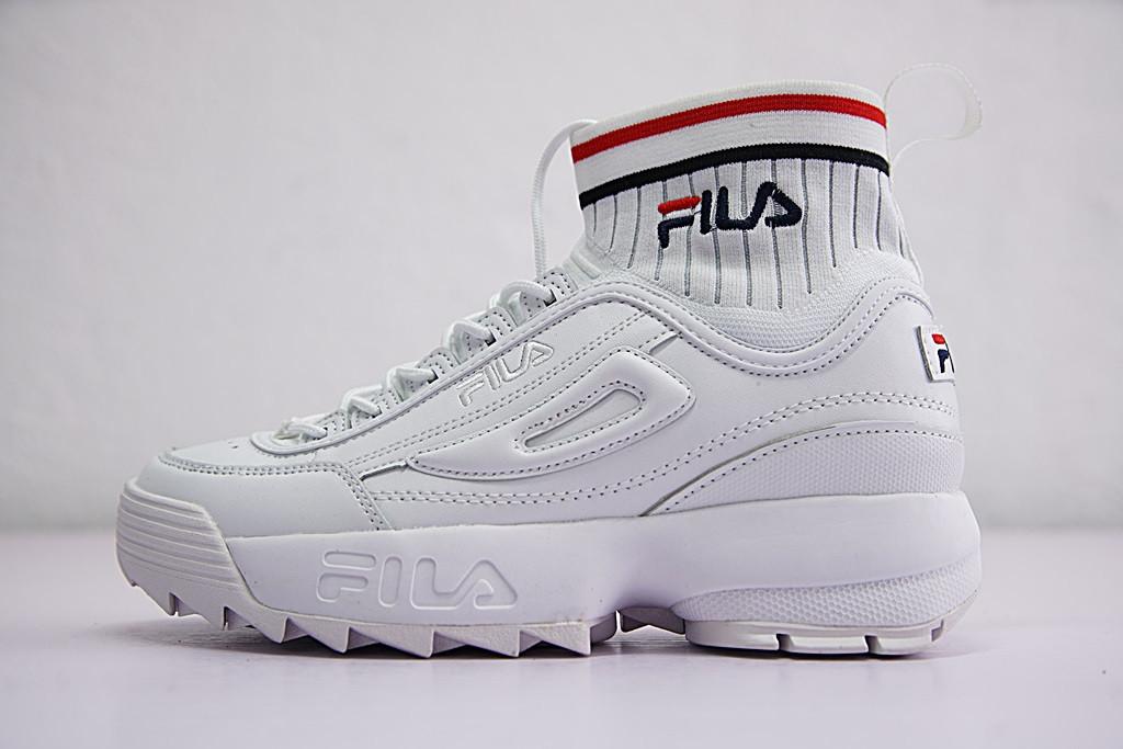 132f10f6bb52f4 Кроссовки Fila Disruptor II EVO Sockfit фила мужские женские  FS1HTA1502X_WWT реплика - Интернет-магазин кроссовок