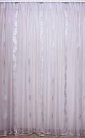 Белый тюль с белыми шелковыми рисунками Т170а