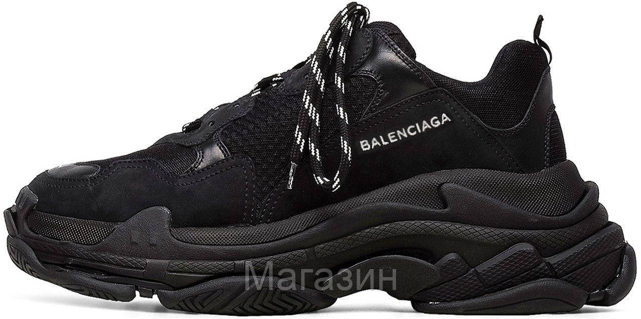 Мужские кроссовки Balenciaga Triple S Black Баленсиага Трипл С в стиле черные
