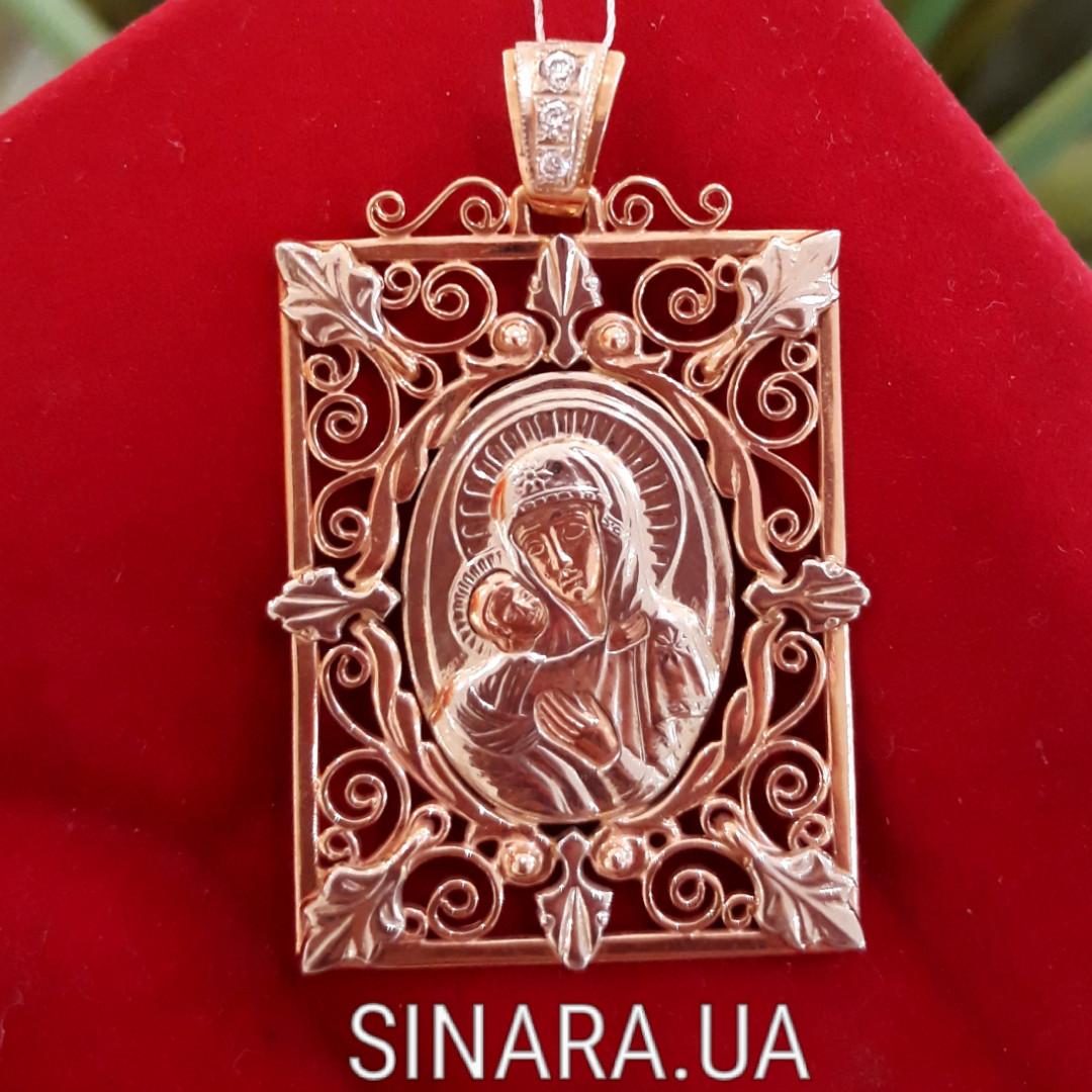 Золотая ладанка Божия матерь с младенцем - Иконка Богородица с младенцем золото 585